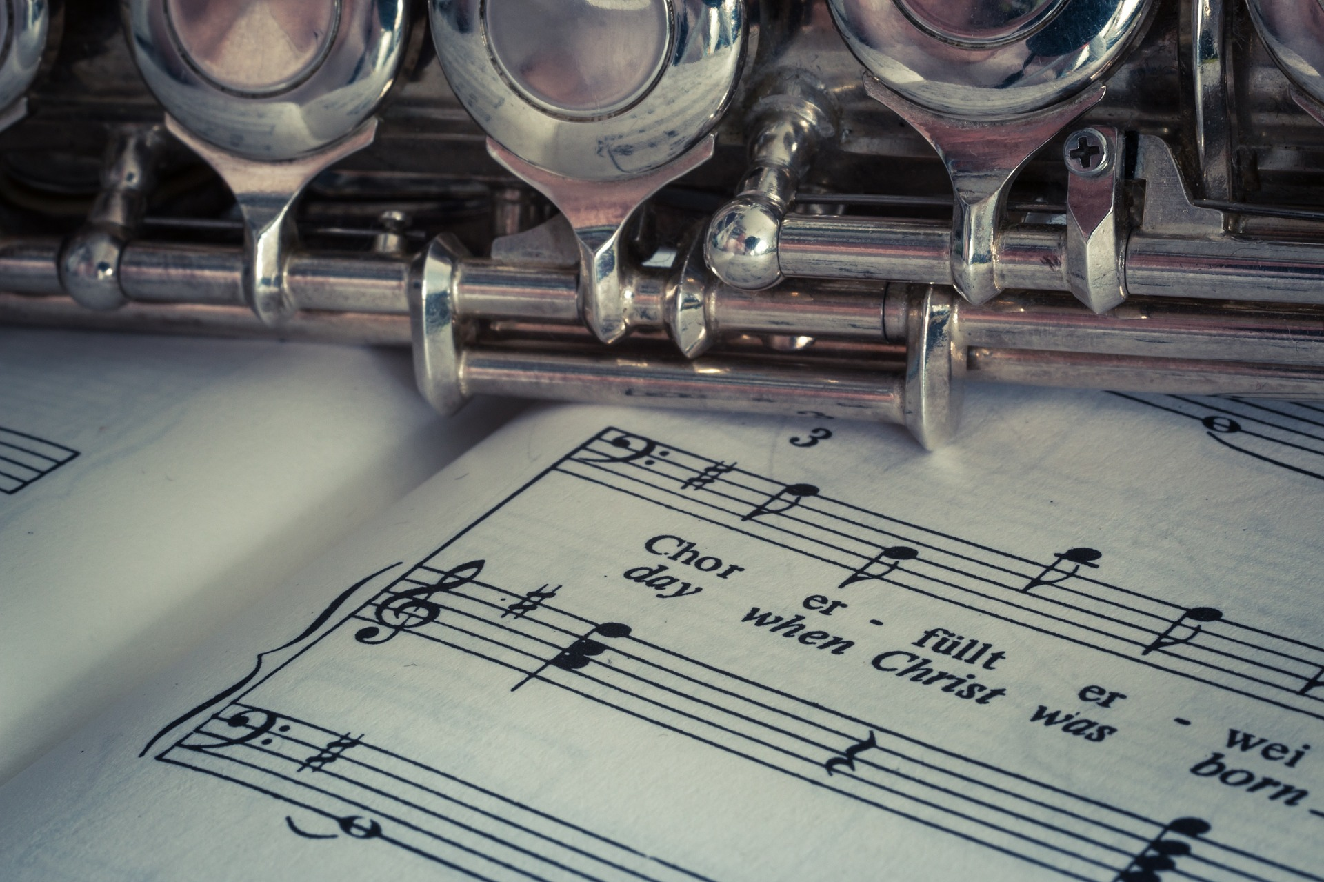 flauta, 乐谱, 乐器, 工作人员, 音符, flauta travesera, 银 -长笛教授-falken.com