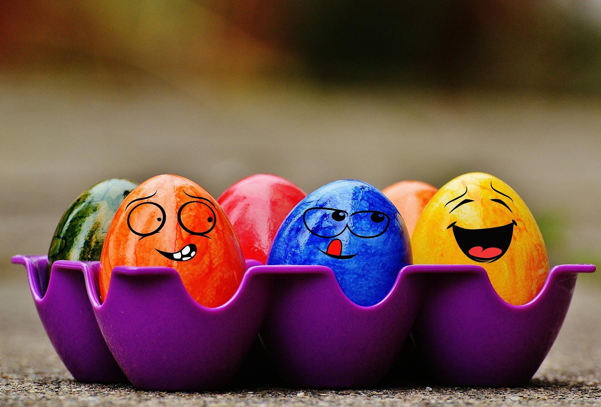 复活节彩蛋, 复活节, 鸡蛋, 颜色, 面孔 - 高清壁纸 - 教授-falken.com