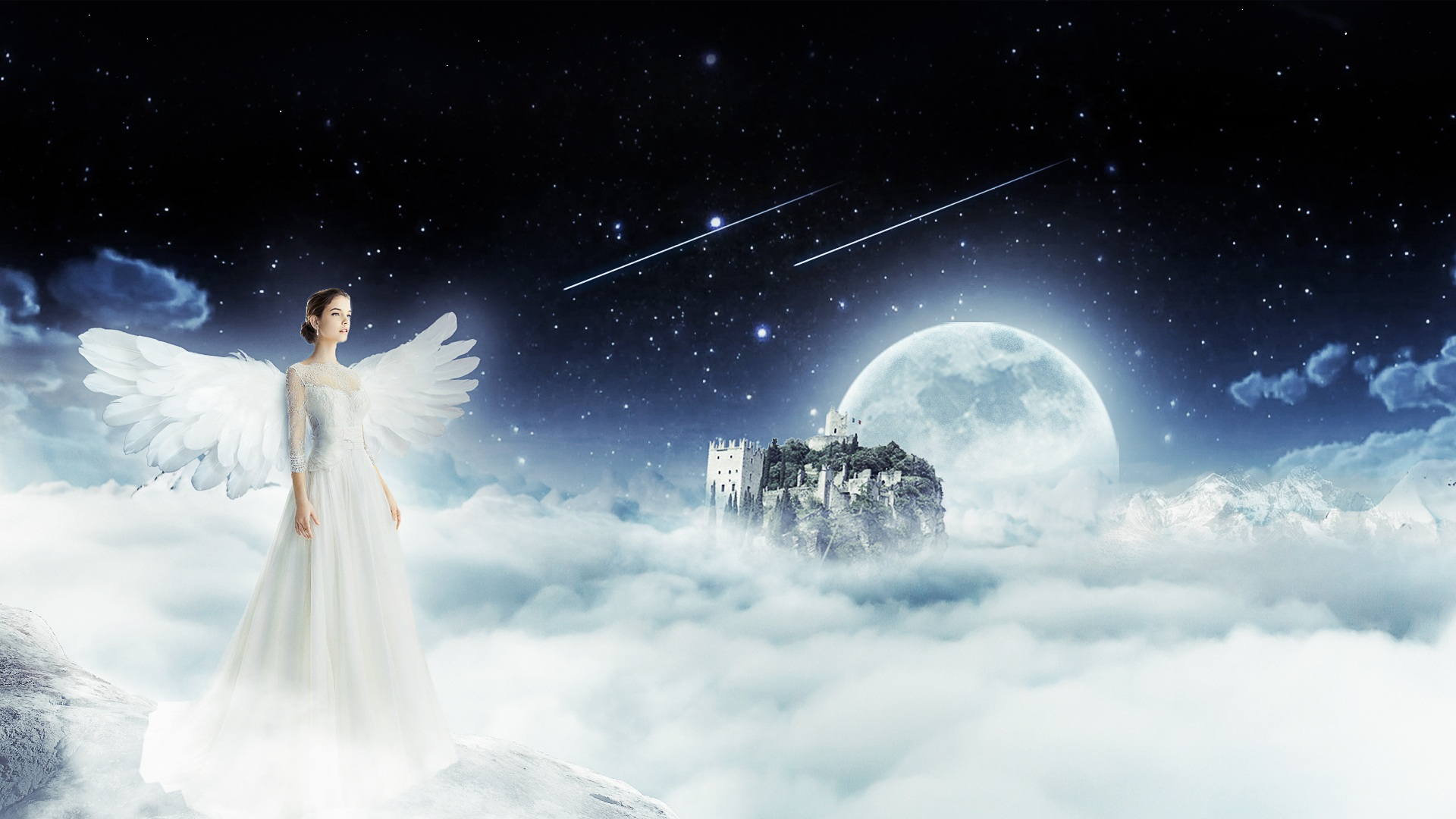 天使, 女人, 天空, 云彩, 月亮 - 高清壁纸 - 教授-falken.com