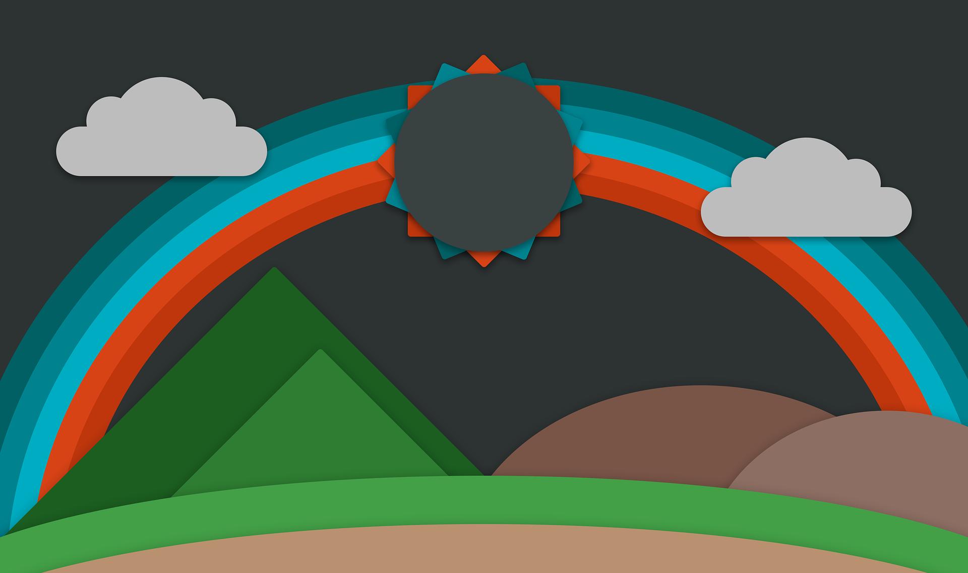 Ουράνιο τόξο, Κυρ, βουνά, επίπεδη σχεδίαση, σύννεφα - Wallpapers HD - Professor-falken.com