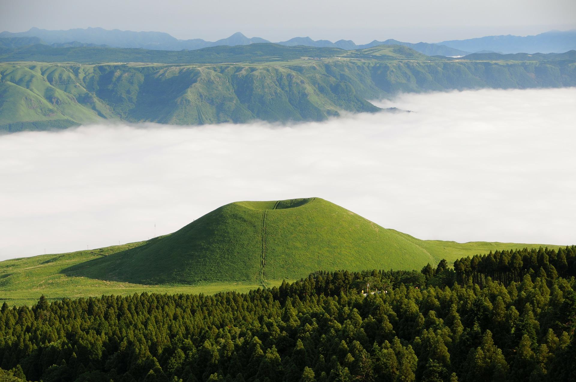 Aso komezuka, nuvens, montanhas, Mar, Japão - Papéis de parede HD - Professor-falken.com