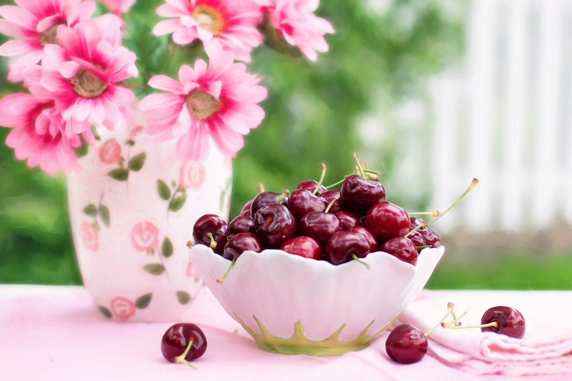 cerises, fruits, fleurs, Bol, Rosa - Fonds d'écran HD - Professor-falken.com
