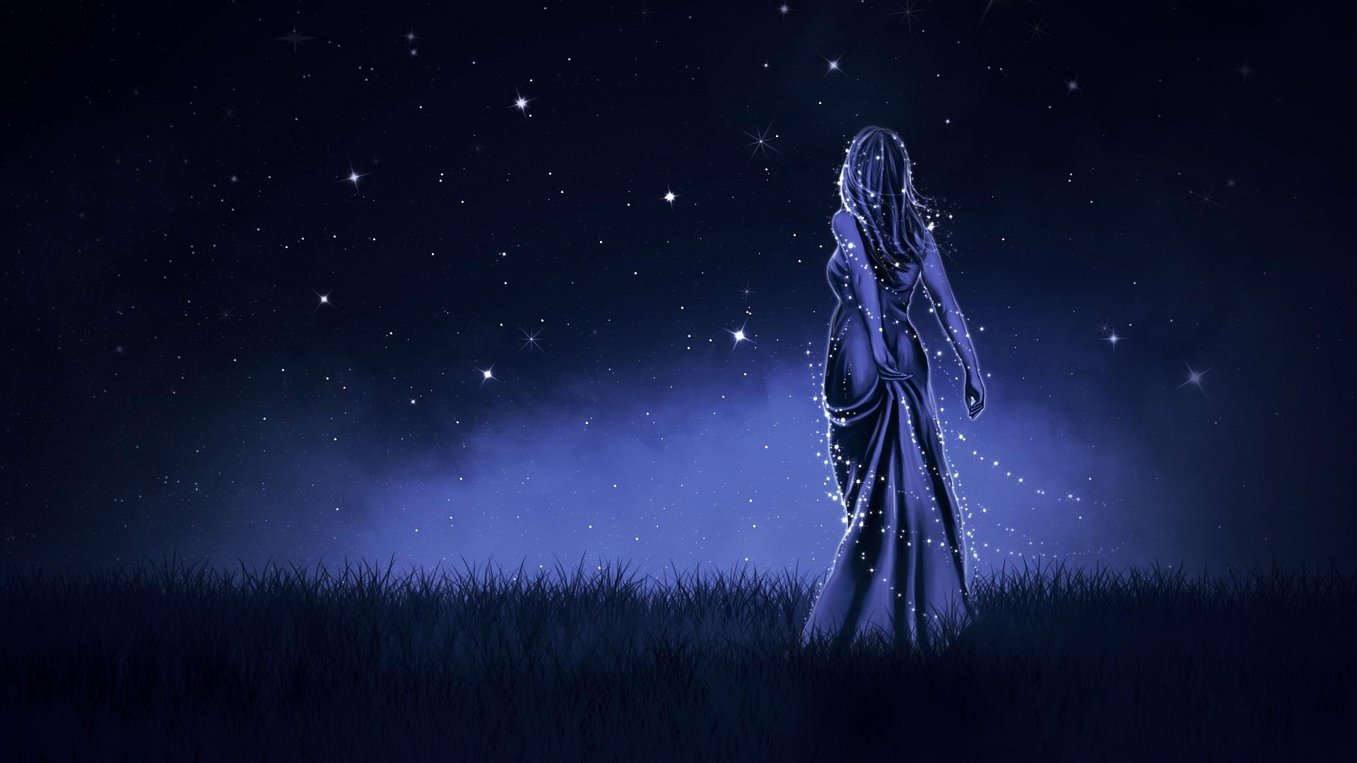 девочка, ночь, Небо, Звезда, платье - Обои HD - Профессор falken.com