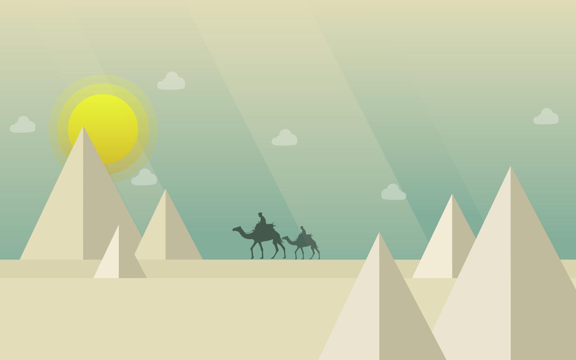 έρημο, καμήλες, πυραμίδες, Κυρ, σύννεφα - Wallpapers HD - Professor-falken.com