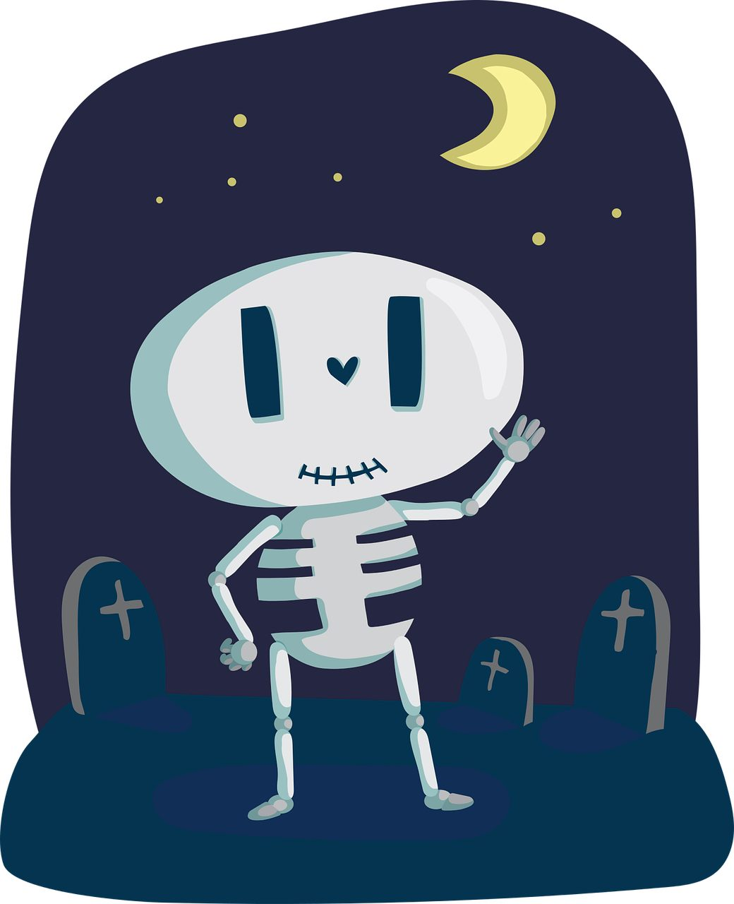 scheletro, Graves, Cimitero, Luna, ossa - Sfondi HD - Professor-falken.com