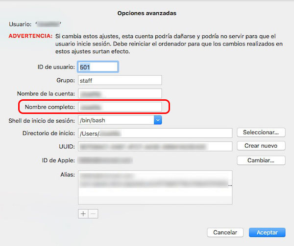 Come modificare il nome di un account utente sul vostro Mac - Immagine 5 - Professor-falken.com