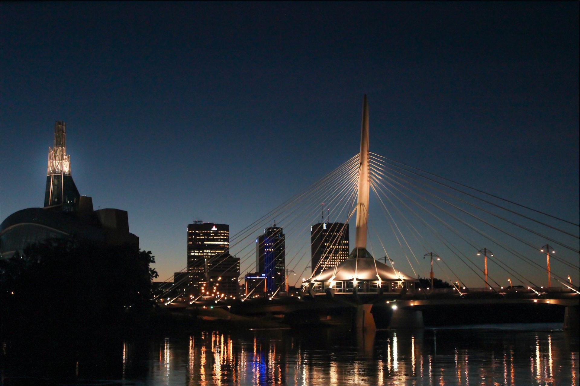 ブリッジ, anclajes, 市, 夜, ライト - HD の壁紙 - 教授-falken.com