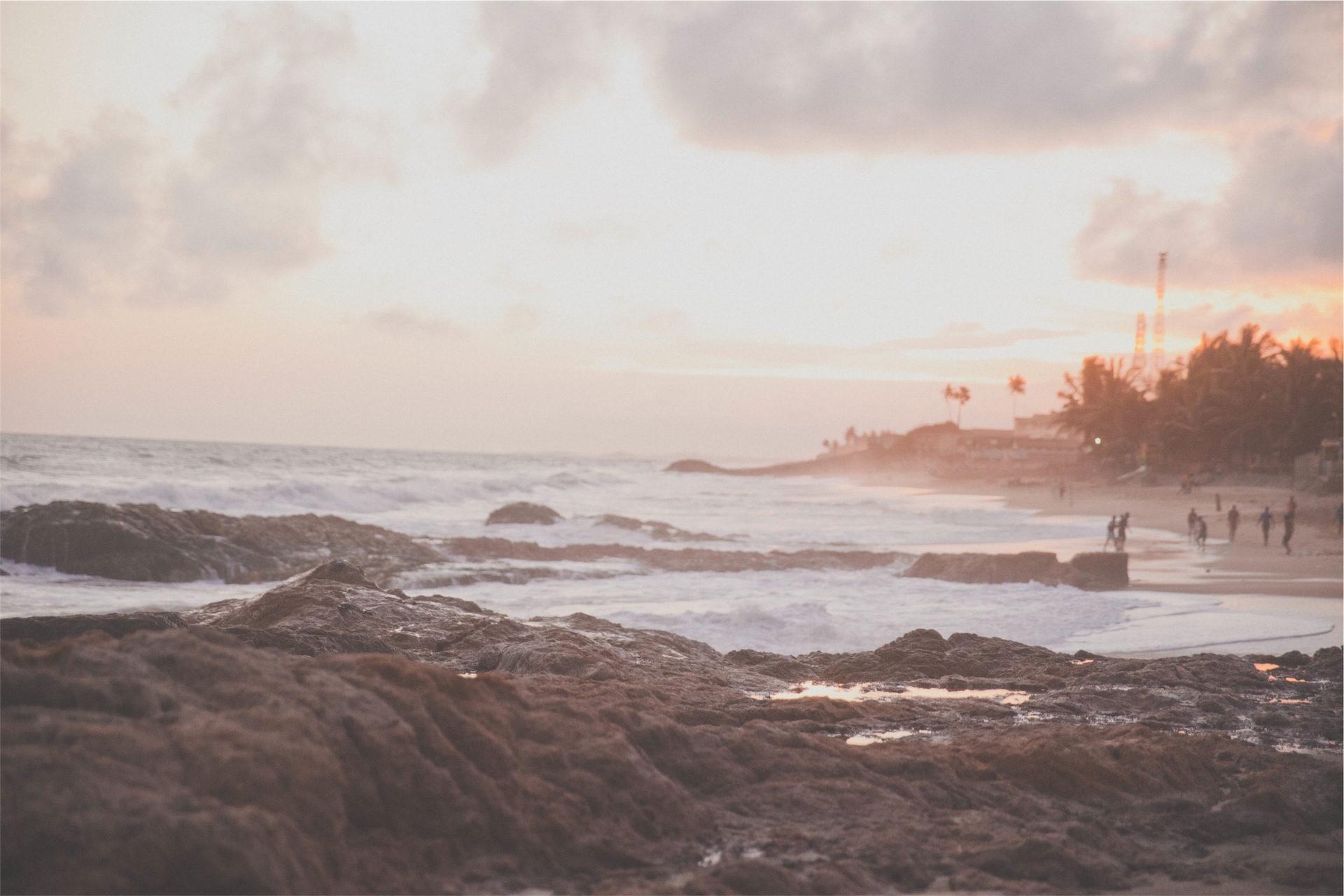 Rocas, Пляж, песок, расслабиться, Закат - Обои HD - Профессор falken.com