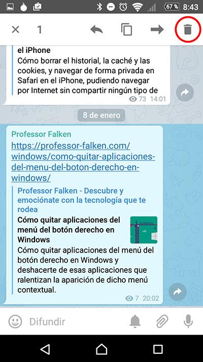 Cómo borrar o eliminar mensajes enviados en las últimas 48 horas en Telegram - Image 3 - professor-falken.com
