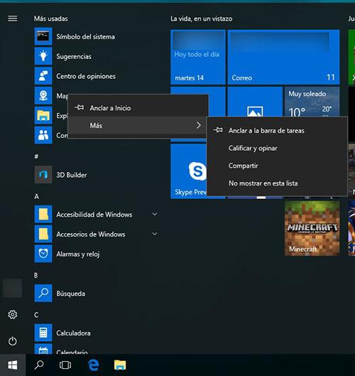 Cómo ocultar, o mostrar, las aplicaciones más usadas en el menú de Inicio en Windows 10 - Image 1 - professor-falken.com