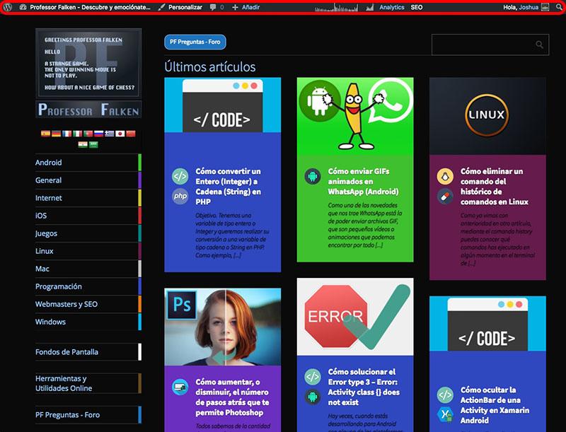 Come nascondere la barra degli strumenti di amministrazione di WordPress per vedere il tuo sito web - Immagine 1 - Professor-falken.com