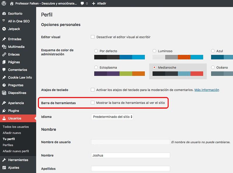 Gewusst wie: Ausblenden der Symbolleiste der Verwaltung von WordPress auf Ihrer Website zu sehen - Bild 2 - Prof.-falken.com